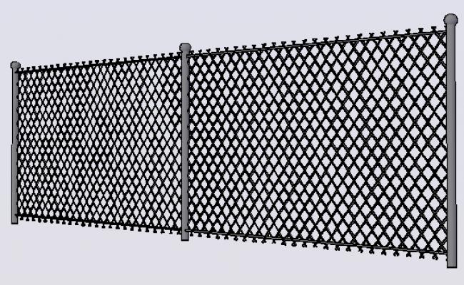 3d design of perimeter fence details dwg file
