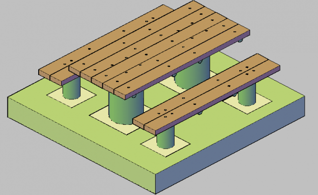 3d design of picnic table dwg file
