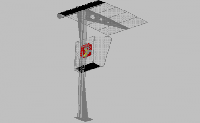 3d design of pole type telephone booth details dwg file