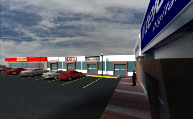 3d design of side view of parking of shopping center dwg file