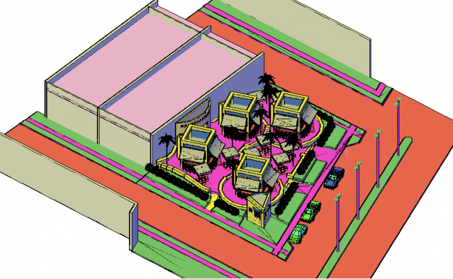 3d design of small square market project top view dwg file