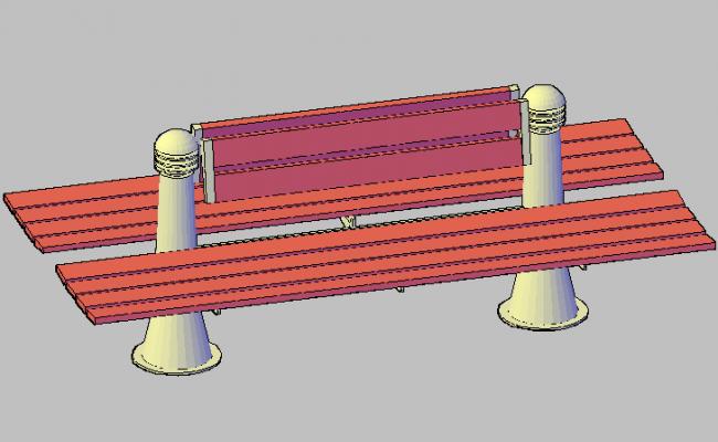 3d design of square bank of garden dwg file