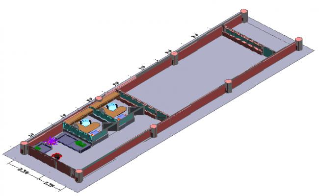 3d design of staff room box dwg file