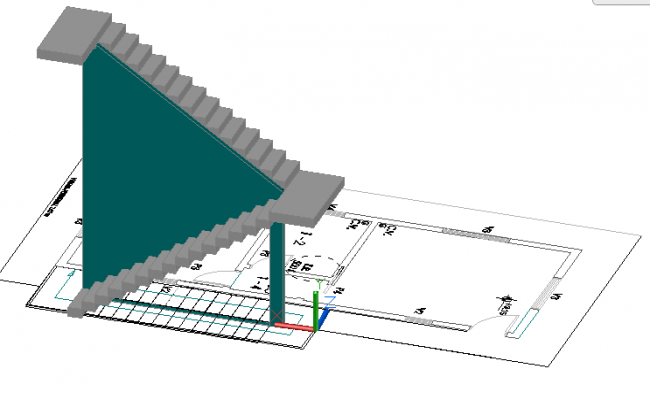 3d design of staircase with ladder dwg file