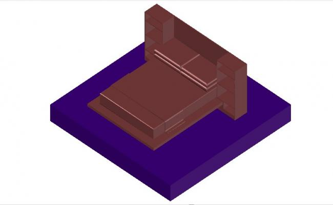 3d design of the bed in dwg file