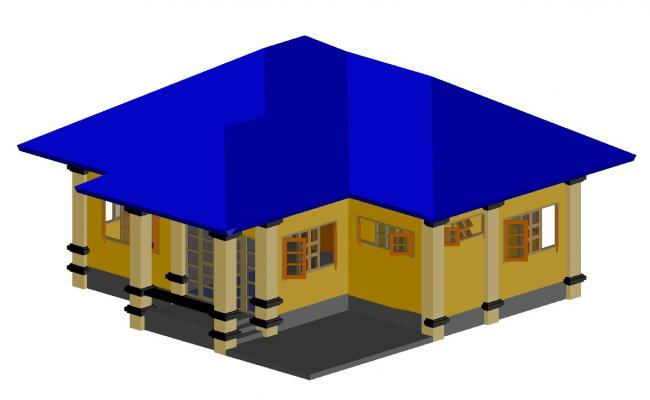 3d design of the house in autocad