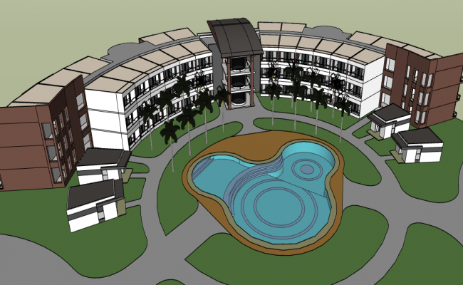 3d design of three star hotel building project dwg file