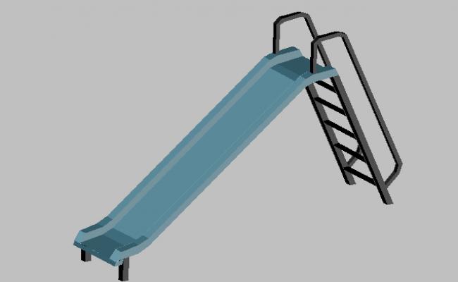 3d design of toboggan of children playground dwg file