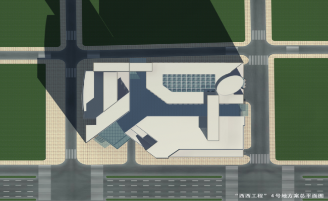 3d design of top isometric view of corporate building dwg file