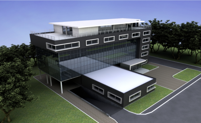 3d design of top view of multi-level office building dwg file