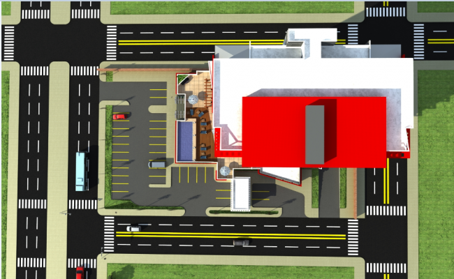 3d design of top view of office tower with landscaping dwg file