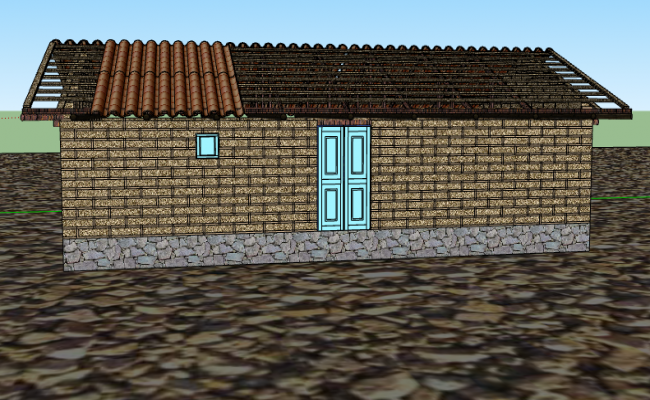 3d design of traditional house project dwg file