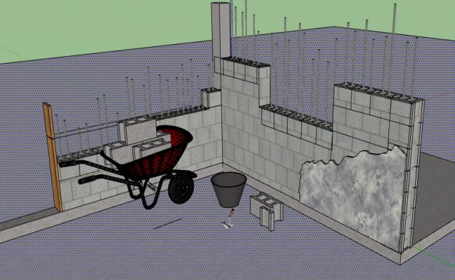 3d design of wall block construction details dwg file