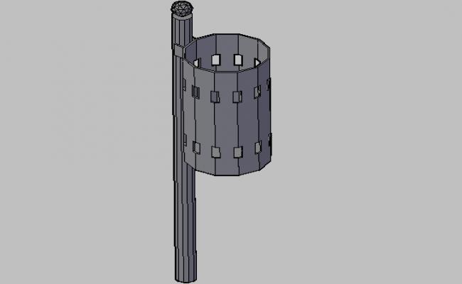 3d design of waste paper box details of garden dwg file