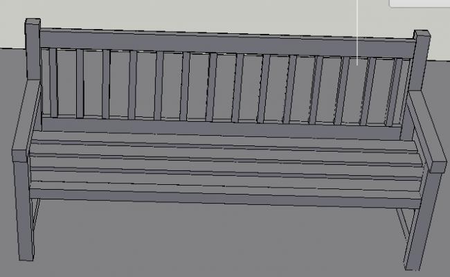 3d design of wooden bench of house garden dwg file