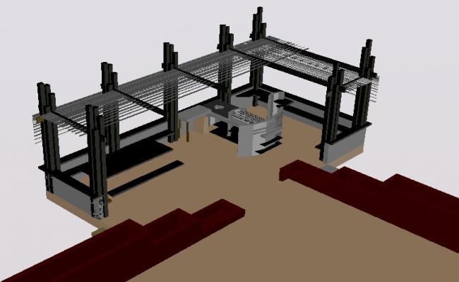 3d design of wooden kiosk of garden dwg file