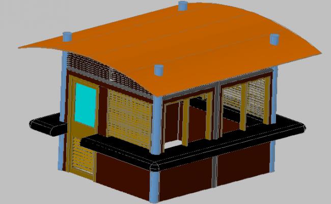 3d design of wooden kiosk of public garden dwg file