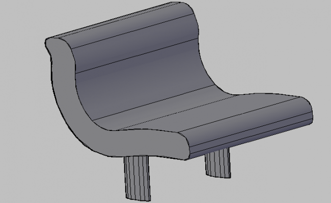 3d design of wooden park bench dwg file