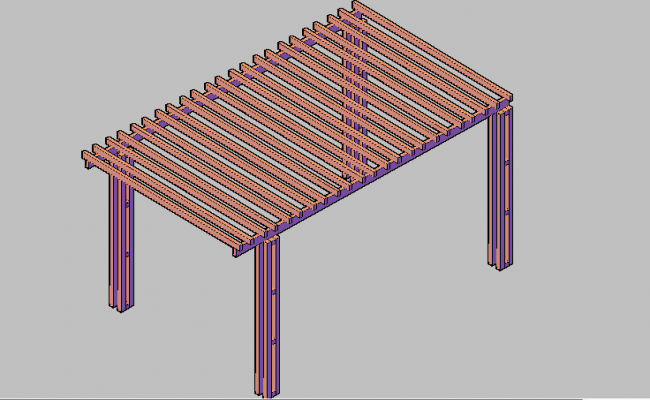 3d design of wooden pergola of park dwg file