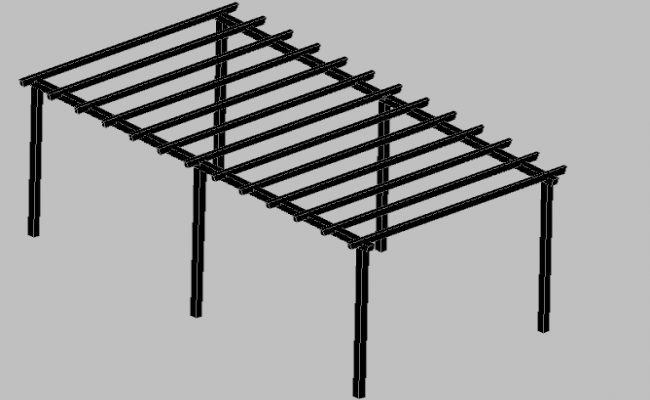 3d design of wooden pergola of public garden dwg file
