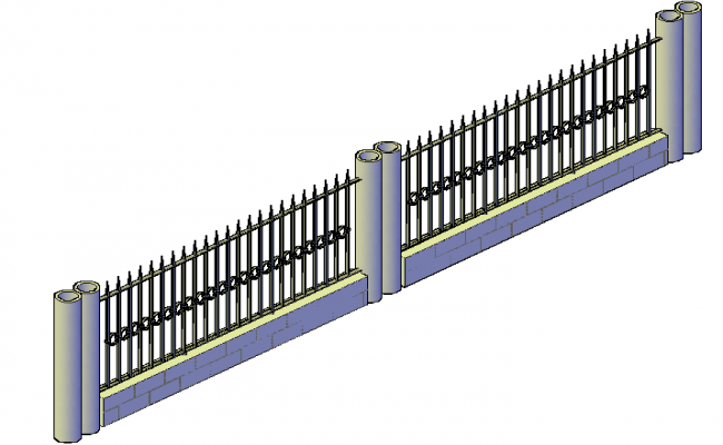 3d design of wrought iron facade