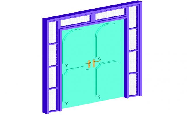 3d design view of wooden door