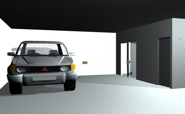 3d drawing if Garage in house