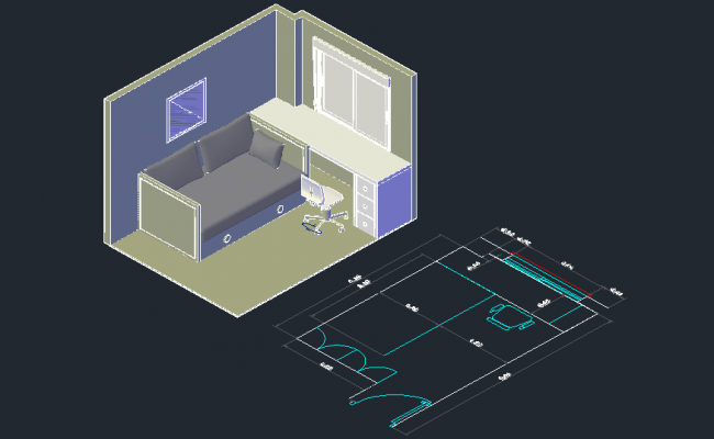 3d drawing of Room with detail dimension in dwg file