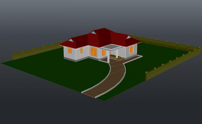 3d drawing of a bungalow design in AutoCAD