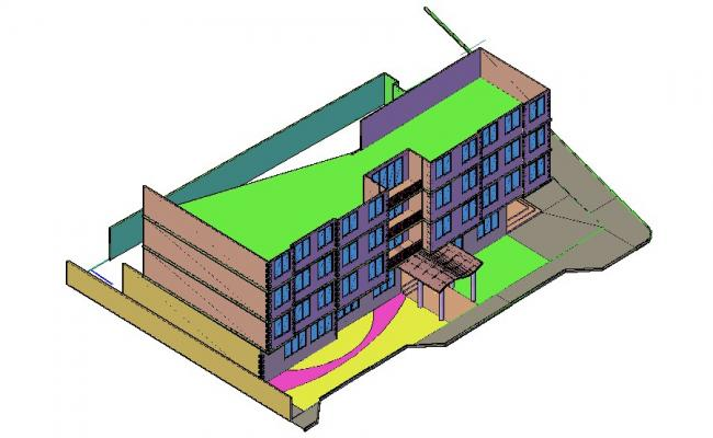 3d drawing of building design in AutoCAD