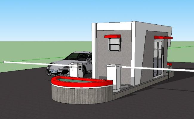 3d drawing of control house .