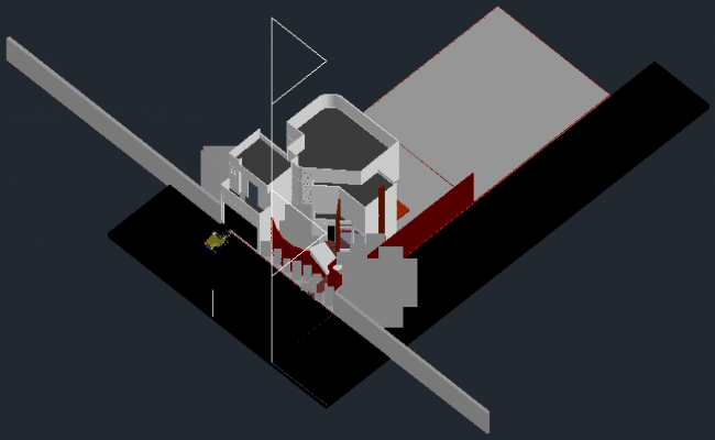 3d drawing of house design in dwg file