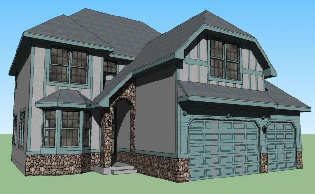 3d drawing of the bungalow in SketchUp file