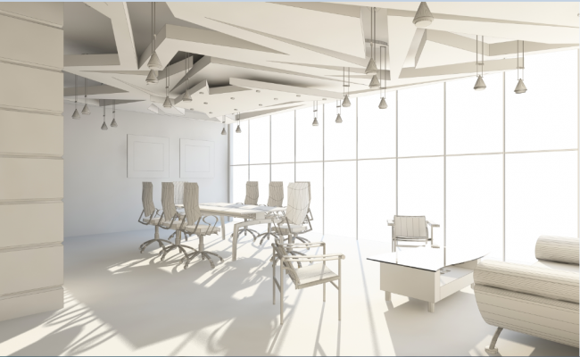 3d elevation of a office room dwg fie
