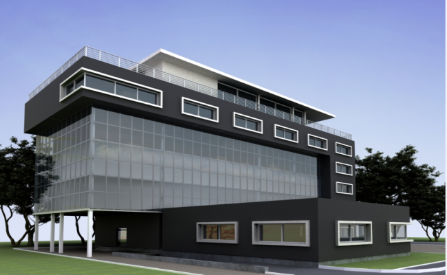 3d front view design of multi-level office building dwg file