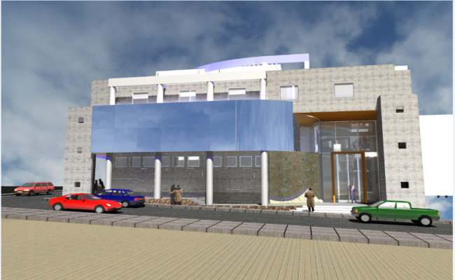3d front view of municipal office building details dwg file