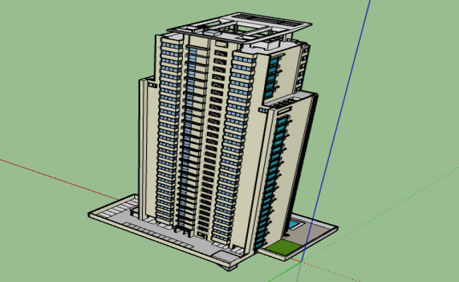 3d high rise apartment building design dwg file