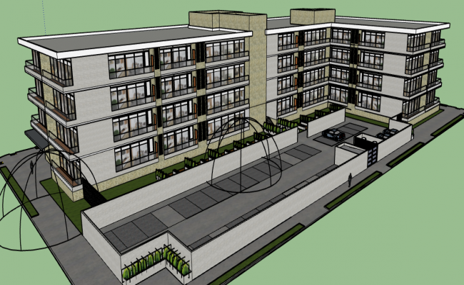 3d Medium Density Housing Complex Dwg File