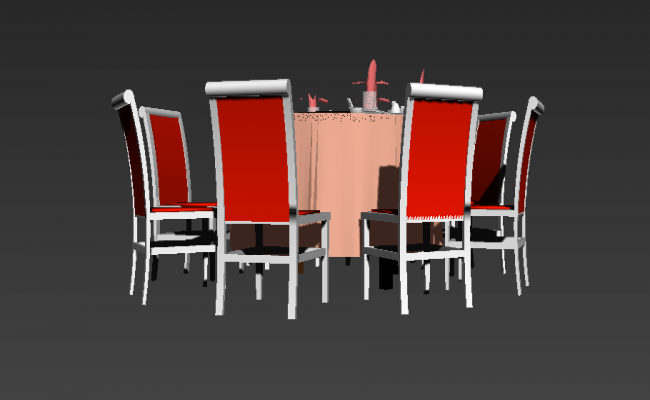 3d model of Dining table and chair CAD furniture 3d max file