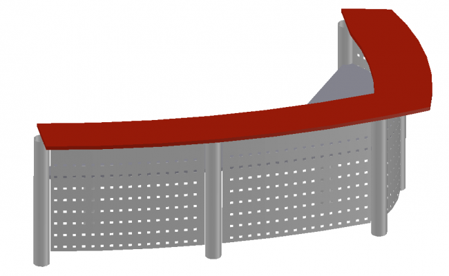 3d model of Reception Table detail autocad file