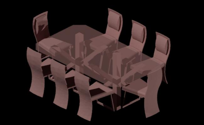 3d model of dining table in dwg file