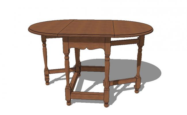 3d model of gate leg table detail furniture units sketch-up file