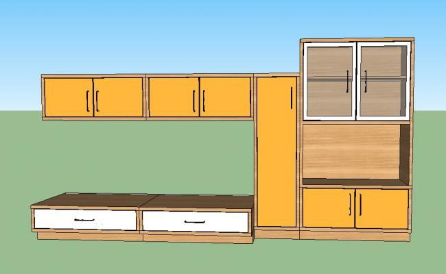 3d model of showcase details furniture unit sketch-up file