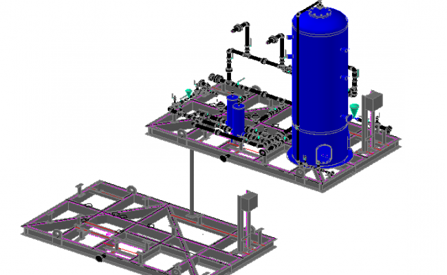 3d model of support system water utilities dwg file