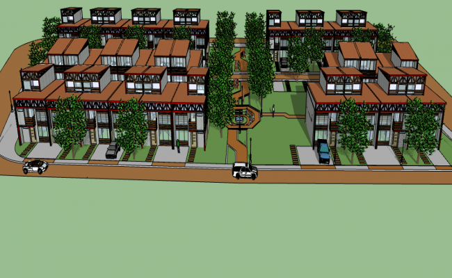 3d Multi Family Residential Housing Complex Dwg File