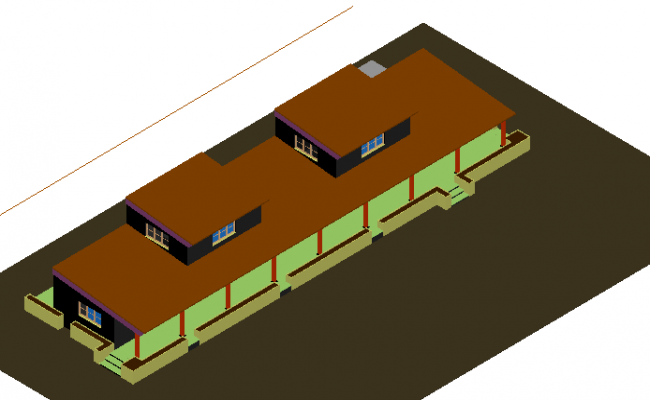 3d multi-flooring bungalow design dwg file