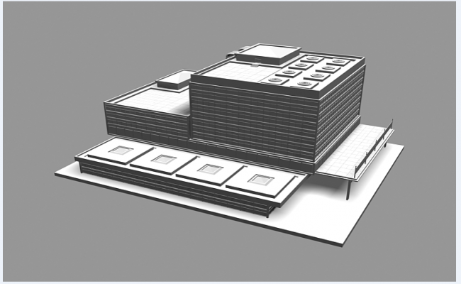 3d multi-flooring corporate office building dwg file