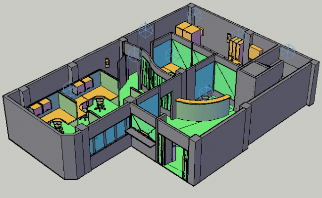 3d office interior view dwg file