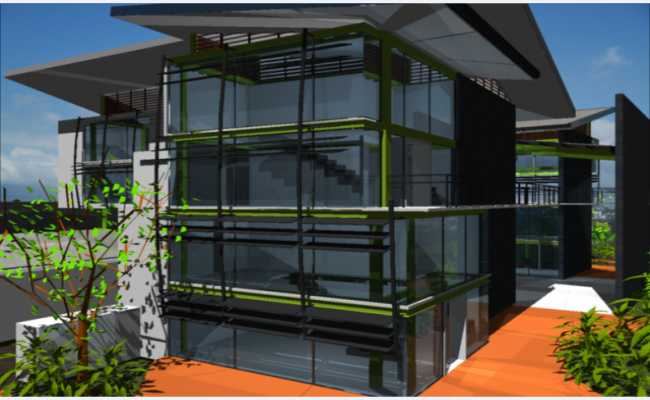 3d side elevation view of shopping center dwg file