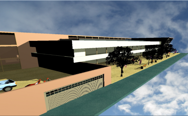 3d side view design of two flooring corporate office dwg file